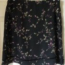 FIRST ISSUE LIZ CLAIBORNE Black Knee-Length FLORAL PRINT Skirt size 16P