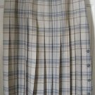 BROOKS BROTHERS Beige & Gray Mid-Calf PLEATED WOOL Plaid Skirt size 8
