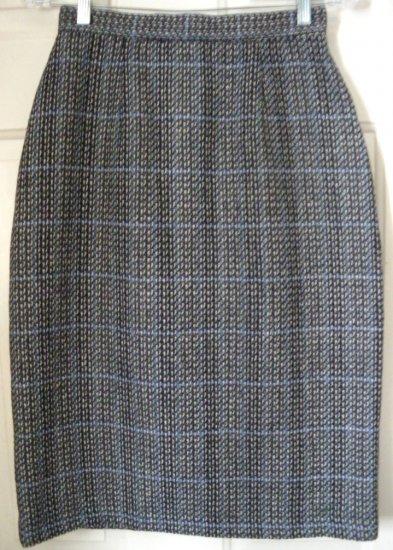 SHERIDAN SQUARE Black & Cream Mid-Calf WOOL Pencil Skirt size 10