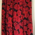 LESLIE FAY Long Black & Red FLORAL PRINT Skirt size 8P