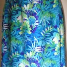 DRESSBARN Blue & Green Knee-Length WRAP Hawaiian Prints Skirt size L