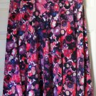 LILY Knee-Length Red Purple Black Print STRETCH PANEL Skirt size M