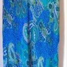 KAREN KANE Long Blue Green Paysley Prints SILK Skirt size L