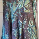 WORTHINGTON Knee-Length Brown Green Paisley Print SILK/COTTON Flared Skirt size 16