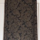 SUSAN LAWRENCE Mid-Calf Black & Gold STRETCH KNIT Paisley Prints Column Skirt size M