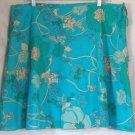 CALVIN KLEIN JEANS Above-Knee Aqua Blue Lined Floral Prints CRINKLE Skirt size 16 *NWOT*