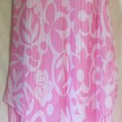 CHADWICK'S Long Pink & White LAYERED HANDKERCHIEF HEM Print Skirt size 10 *NWOT*