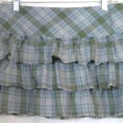 AMERICAN EAGLE OUTFITTERS Blue Green Plaid TIERED Low Waist Mini Skirt size 4
