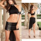 Microfiber and Faux Crocodile Trim Skirt Set with Halter Top Size M.
