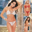 Bra Set with Faux Lacing Details. One Size
