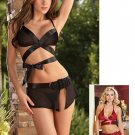 Satin Ribbon Wrap Around Bra and Skirt Set. Size M