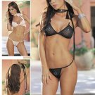 Rhinestone Accented Mesh Bra Set with Neck Tie