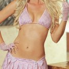 Schoolgirl Sweetie 4 Piece Bra & Skirt G-String Set. Size Large