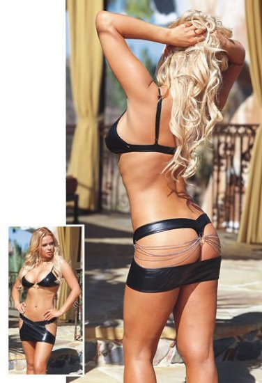 Microfiber Bra Set with Cutout Side Skirt and Chain Accents. Size S,M,L.