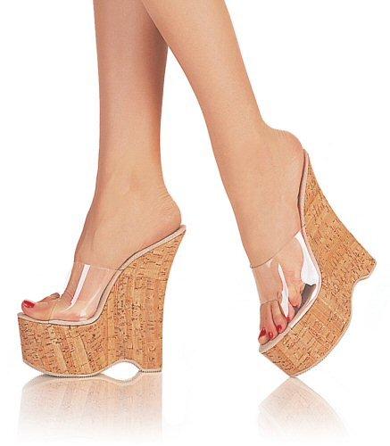 """Runway - Mid-Platform Runway 6"""" Heel, Clr/Cork Sandals. Size 5-8"""
