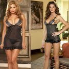 Open Cup Babydoll Set with Satin Trim