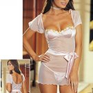 Mesh Babydoll Set with Satin Cups & Flower Trim