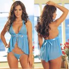 Halter Babydoll Set with Acrylic Gem Accents and Ribbon Trim