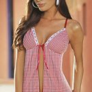 Gingham Babydoll Set with Lace Trim and Front Ribbon Tie