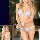 DG - Shimmer Knit Halter Top w/Matching Thong and Chain Accents, Includes Cuffs - Each 2-Piece Set