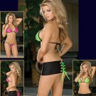DG -Reversible Pink/Green Halter Top/Thong w/Mini Skirt and Lace-Up Ribbons Set - Each 3-Piece Set