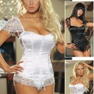 2 Piece Satin Corset Set with Hanging Confetti Sequins : Closeout