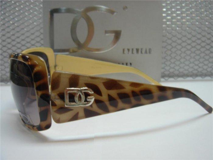 DG Eyewear Yellow Animal Print Sunglasses 533 Free Micro Fiber Bag NWT
