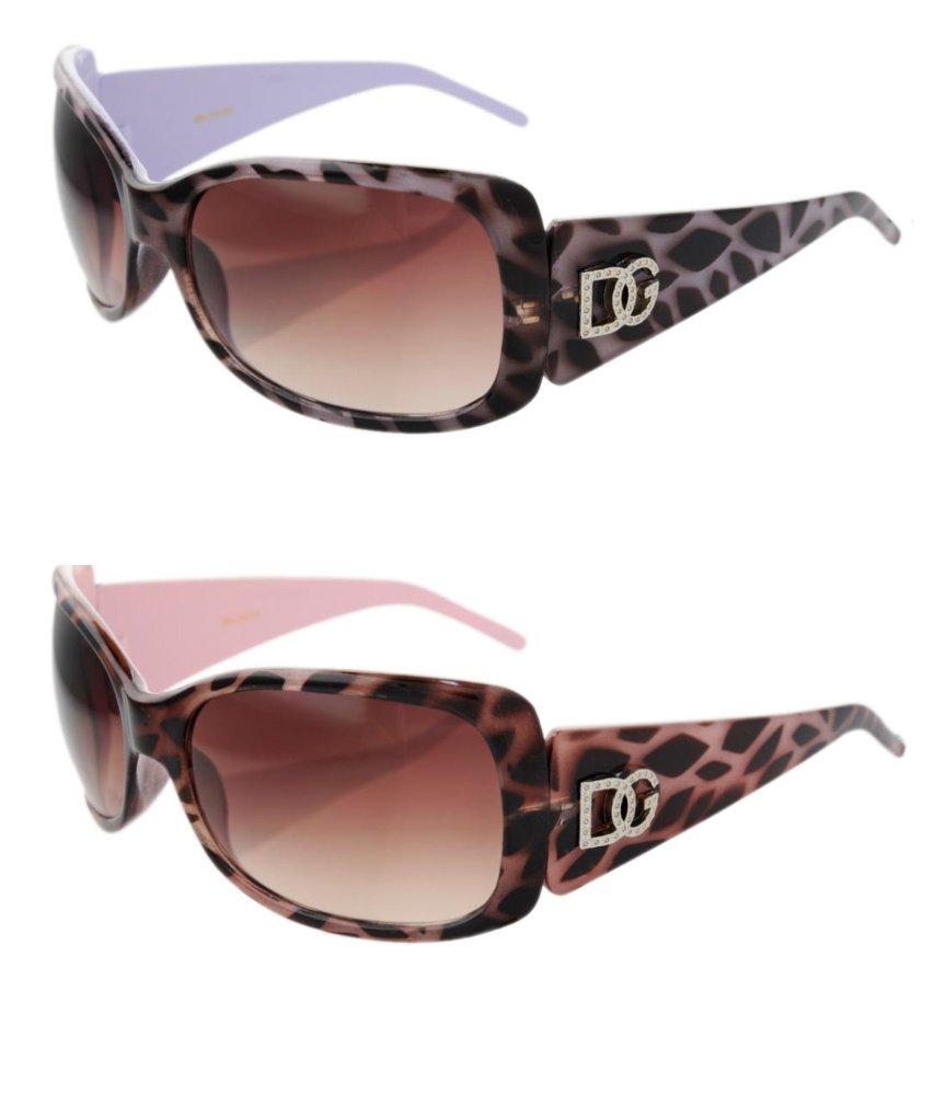 2 DG Eyewear 1 Purple & 1 Pink Animal Print  Sunglasses