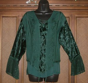 Funky Gothic Look Laces Hippie Top Teal Green