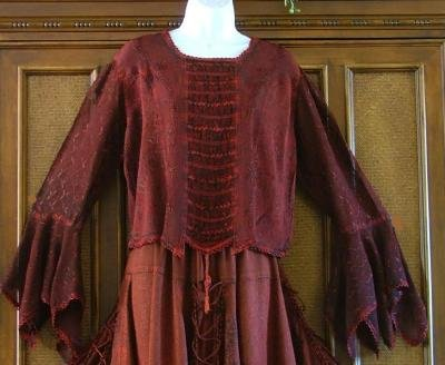 Gypsy Renaissance Gothic Ruched Bodice Blouse Red OS
