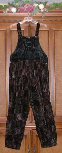 $90 Fabulous Velvet Patch No Match Overalls S New Jet