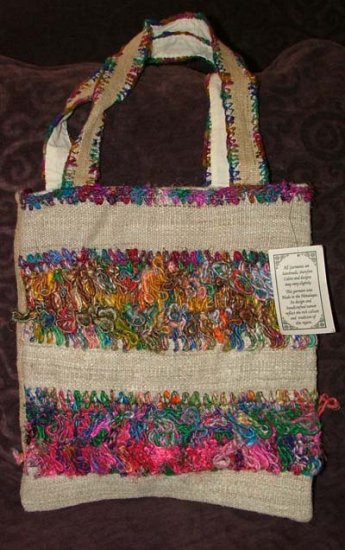 New Funky Hippie Hemp & Raw Silk Shoulder Bag