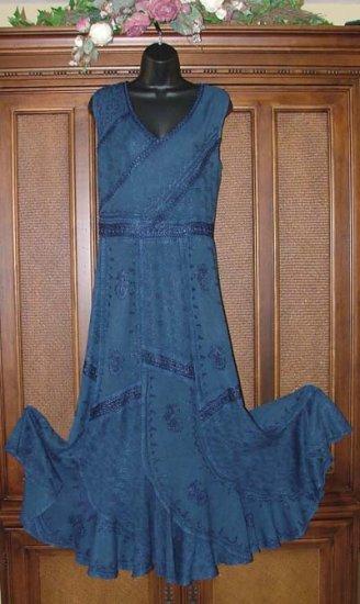 Fab Patchwork Pieced Swoopy Bottom Hippie Dress Plus Sizes