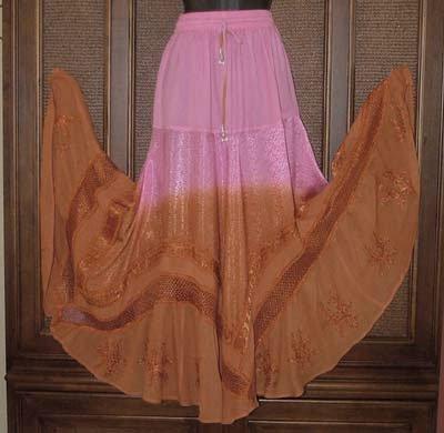 Gradient Tie Dye Hippie Dancer Skirt Pink/Brnt Org