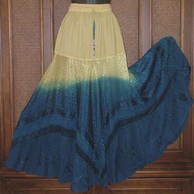 So Wild Gradient Dye Hippie Spinny Big Skirt Soft Yellow/Blue