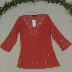 China Red FAB Beaded Netting & Sequins Unique Tunic Sm