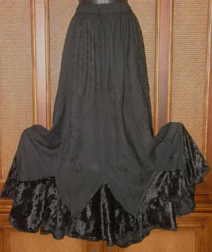 Incredible Pieced Gypsy Skirts W Velvet Color Jet Black
