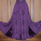 Inset Panel Gypsy Dancing Skirt FAB Details Purple