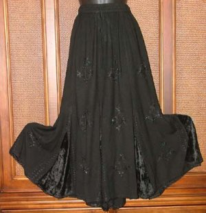 Inset Panel Gypsy Dancing Skirt FAB Details Black