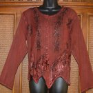 Notched Up Details Gypsy or Hippie Top Stone Wash Red! M-L