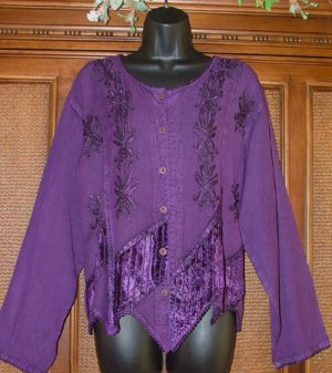 Great Details Drapey Stevie Style Purple Gypsy Top