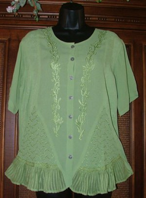 Fab Warm Wthr Hippie Blouse EXLNT Details Soft Celery Choice