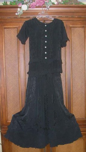 Feminine Hippie Ruffled Embroidered Set Black M BLOWOUT