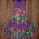 Artsy Pieced Cute Ruched Bust Sun Dress Purple M or XL