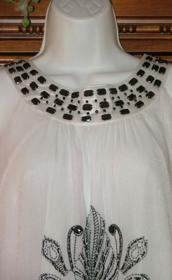 Black On White Flowy Persian Vibe Chunky Bead Chiffon Dress