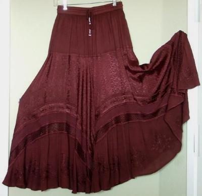 SALE Deep VEE Huge Sweep Dancer Skirt Brown