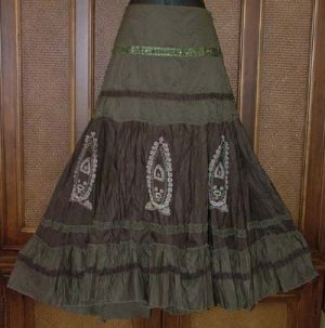 Blowout $94 Embellished Embroidered Circle Skirt Khaki Brown Medium