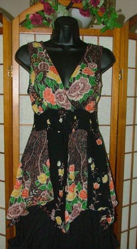 Funky Pixie Hem Floral Long Top Sale