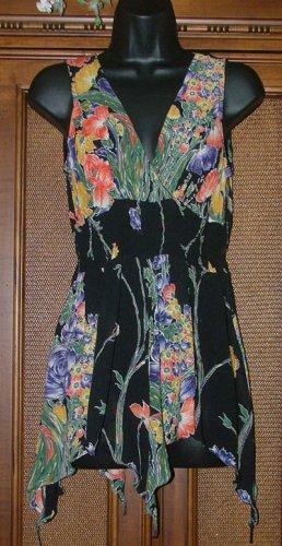 Funky Pixie Hem Long Top Black Floral Blowout