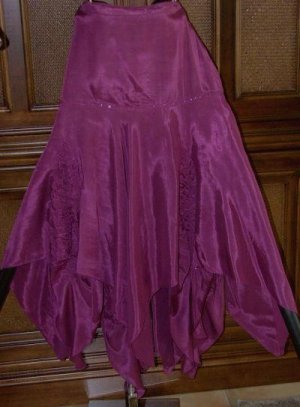 Sequins And Godets Full Pointy Bottom Skirt Plum Wine